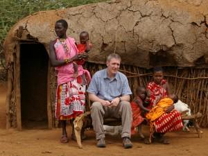 Me frightening Maasai babies & children