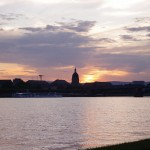 Mainz skyline at sunset